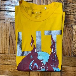 """Guess """"LIT"""" gold tee shirt size: L"""